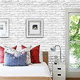 BRISEZZ Fototapete Steintapete selbstklebend Weiß 3D Tapete Wandtattoo dekorative Möbelfolie...