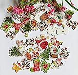 50 Stück Mix Weihnachten dekorative Holzknöpfe 2 Löcher handgemachtes Scrapbooking für...