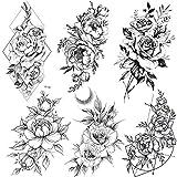 COKTAK 6 BläTter Groß Schwarz Rose Blume Temporäre Tattoos Frauen Körper Arm Beine Päonie...