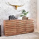 FineBuy Sideboard KANA 160 x 75 x 43 cm Massiv-Holz Akazie Natur Baumkante Anrichte   Landhaus-Stil...