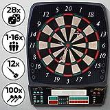 Physionics Elektronische Dartscheibe - 28 Spiele, 12 Soft Pfeile und 100 Ersatzspitzen, LED Anzeige...
