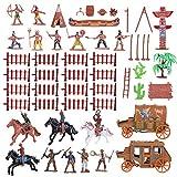 TOYANDONA 1 Satz Indianer Figuren Spielzeug Western Cowboy mit Pferd Modell Spielfiguren Kunststoff...