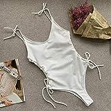CUzzhtzy In-X Lace up sexy Bikini 2020 Push-up Badeanzug weibliche Monokini Schnur gelbe...
