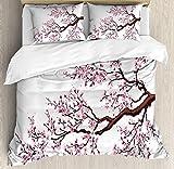 LIS HOME 3-teiliges Bettwäscheset Zweig eines blühenden Sakura-Baumes Blumen Kirschblüten...