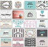 Friendly Fox Geburtstagskarten Set - 20 Glückwunschkarten zum Geburtstag - Happy Birthday Set mit...