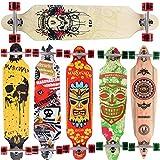 MARONAD Longboard SKULL drop through Race Cruiser ABEC 11 Skateboard