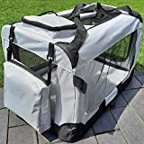 zooprinz Faltbare Hundetransportbox mit sicherem Stahlrohrrahmen - inklusive Kuschelunterlage für...