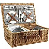 4 Personen Weiden KorbgeflechterPicknickkorb mit Khltasche, Handgefertigtes groes Wicker Picknick...