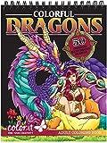 ColorIt Colorful Dragons Malbuch für Erwachsene, 50 einseitige Designs, dickes glattes Papier,...