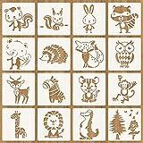 Tiermalerei Schablone, 16 Stück Zeichenschablonen Malschablonen aus Kunststoff, Stencil Schablonen...