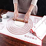 Backunterlage Silikon Backmatte Groß 70x50 CM, Rutschfest BPA Frei Antihaft Pastry Baking Mat Teig...