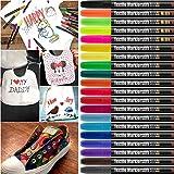 DYFFLE Textilstifte Waschmaschinenfest | 20 Stoffmalstifte Waschfest, Textilfarbe Stifte,...