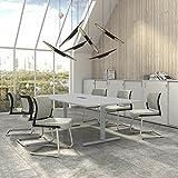 Easy Konferenztisch 240x120 cm Lichtgrau mit ELEKTRIFIZIERUNG Besprechungstisch Tisch,...
