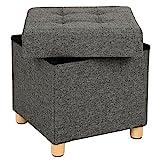 SONGMICS Sitztruhe, Sitzhocker mit Stauraum und Deckel, Fußhocker mit Holzfüßen, 38 x 40 x 38 cm,...