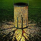 Yokunat LED Solar Laterne für draußen, Solar Garten Hängende Laterne zylinderförmige Nachtlicht...