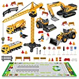FUNTOK Baufahrzeuge Spielzeug,35 Stück Kinder Baufahrzeuge Set mit Spielmatte Kran Spielzeug Bagger...