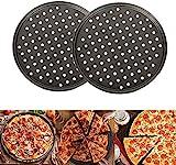 Old Tjikko Pizzablech,Pizzaset 2 Stück, Antihaft Pizza Backblech mit Löchern,Carbonstahl,...