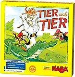 Haba 4478 - Tier auf Tier, Stapelspiel für 2-4 Spieler ab 4 Jahren, mit Tierfiguren aus Holz, auch...