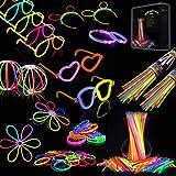 IREGRO Knicklichter 200 Stücke, Leuchtstäbe, Glow Sticks, Neon Leuchtstäbe Party Pack, für...