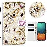 Samsung Galaxy A71 Glitter Hülle Case,3D Handtasche Absatz Lippe Strass Diamant Weiße Ledertasche...