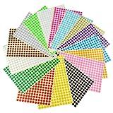 Runde Punktaufkleber,Farbetiketten 6mm Dot Klebepunkte 16 Farben/Blatt Farbkodierung Etikette 6120...