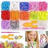 WANGZAIZAI 600 Stück Loom Bänder Set, Rainbow Loom Bänder für Armbänder,DIY Gummibänder Kinder...
