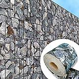 Splittstein - Bedruckter Sichtschutzstreifen für Stabmattenzaun inkls. Klemmschienen PVC frei