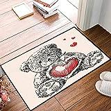 Rutschfester Badvorleger, Gekritzel, detaillierte Teddybär Zeichnung mit Herz anstelle eines...