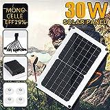 SIRIGOGO Solarpanel, 30 W USB Solarpanel 5/12 V 10-in-1 Ladekabel, IP65 Wasserdicht für Boot, Auto,...