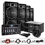 Elektronik Star DJ PA Set Bass First Pro Bluetooth 2x Amp 4x Boxen Mixer 4000W