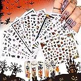 EBANKU Halloween Nagelsticker, 12 Stück Bat Ghost Spinnennetz Nail Art Sticker Nagel Abziehbilder...