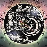 Motorrad Wanduhr Motorrad Vinyl Rekord Uhr Fahrrad Sport Rennen Geschwindigkeit Motorradfahrer...