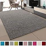 SANAT Teppich Wohnzimmer - Hellgrau Hochflor Langflor Teppiche Modern, Gre: 160x230 cm
