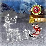 Weihnachtsdeko Figuren 432 LED Weihnachtsmann mit Rentier Schlitten Weihnachtsbeleuchtung für Innen...