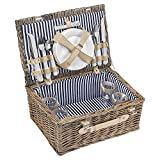 anndora Picknickkorb 4 Personen Weidenkorb Beige mit Zubehr 21 Teilig