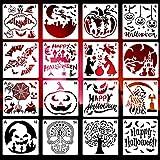 LOVEXIU Schablonen Halloween KüRbis 16pcs,Zeichenschablonen Kinder,Malschablonen Halloween,DIY...