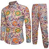 Qinhanjia Herren Casual Langarm Shirt Business Slim Fit Shirt Print Bluse Top + Hosen, Herren Ethno...
