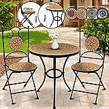 Jago Mosaik Balkonmbel Set - Tisch rund oder eckig (/H: 60x70cm) mit 2 Sthlen Klappbar (46cm...