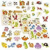 Set mit 4 bunten Holzpuzzle - Perfekt für Kinder im Vorschulalter - Hilft der frühen Erziehung &...