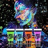 AGPTEK Kinderschminke Set, 16 Schminkfarben, 4 UV Fluoreszierende Pigmente, 2 Haarfärbemittel, 2...