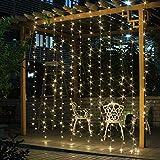 Salcar LED Lichtervorhang 3x3m IP44 Vorhang Lichterkette, Lichtervorhang für Weihnachten,...