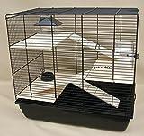 Interzoo Nagerkäfig, Hamsterkäfig, Käfig, Etagen-Käfig REX 3 schwarz Holzausstattung