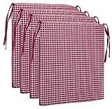 Brandsseller Sitzkissen Stuhlkissen kariert Kissen Sitzpolster - 40 x 40 cm (4er-Paket, rot)