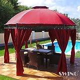 Swing & Harmonie LED - Pavillon 350cm Lavo - mit Seitenwnden und LED Beleuchtung + Solarmodul Runder...