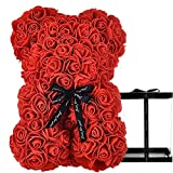 HelaCueil Rose Teddybär im transparenten Geschenkbox - Valentinstag-Muttertags (Rot, 25CM /10 Zoll)