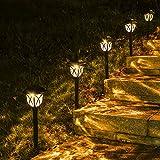 LED Solarleuchten Garten, 6 Stück Warmweiß Solarlampen für außen Garten, IP65 Wasserdicht...