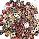 Egurs 300 Stück Bunte Holzknöpfe zum basteln Set Vintage Rund Kinderknöpfe Pattern und...