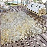 Paco Home In- & Outdoor Teppich Modern Shabby Chic Stil Terrassen Teppich Gelb, Grösse:240x340 cm