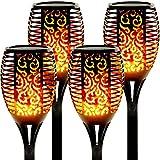 Solarlampen für Außen 4 Stück Flammenlicht Gartenfackeln IP65 Wasserdicht Solar Flamme Fackeln...
