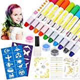 HOWAF Haarkreide Set für Kinder Mädchen, 10 Farbe Haarfärbestifte, Haar Colorationen, Non-Toxic...